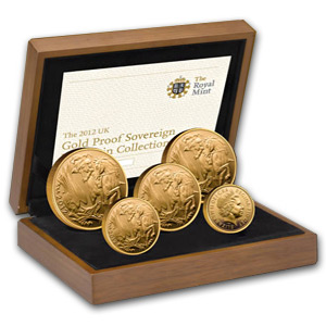 2012 UK Proof Gold Sovereign Five Coin Collection AGW 2.06
