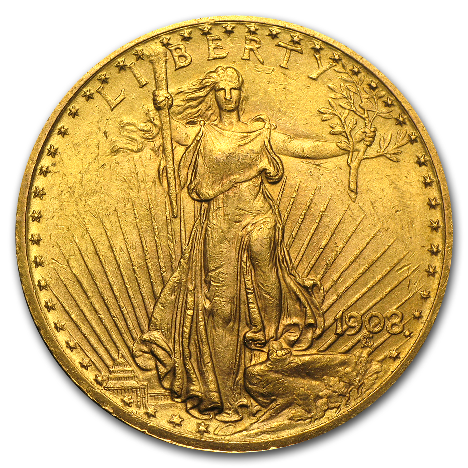 1908 $20 St. Gaudens Gold Double Eagle w/Motto AU