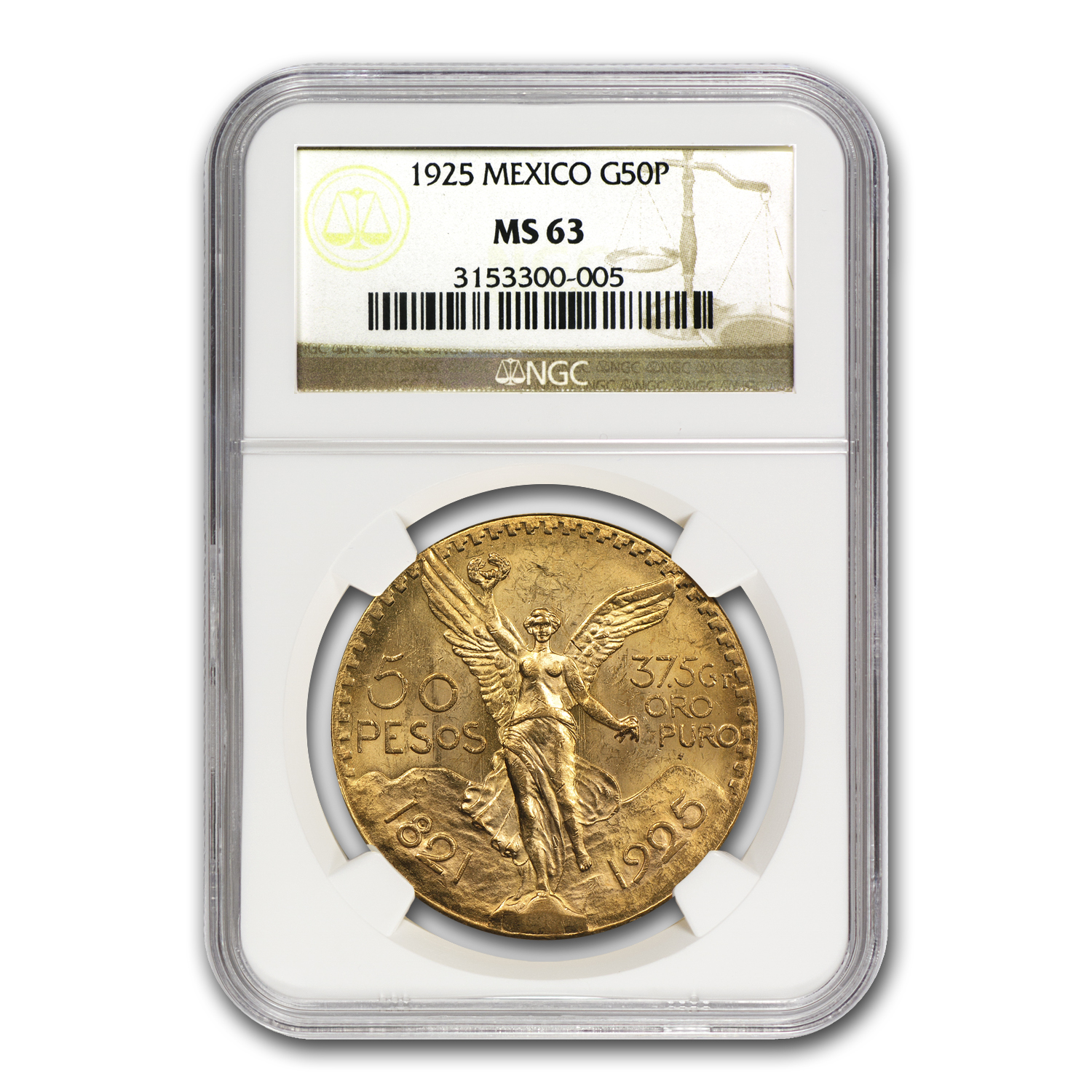1925 Mexico Gold 50 Pesos MS-63 NGC
