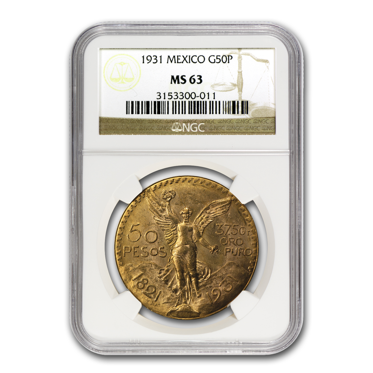 Mexico 1931 50 Pesos Gold MS-63 NGC