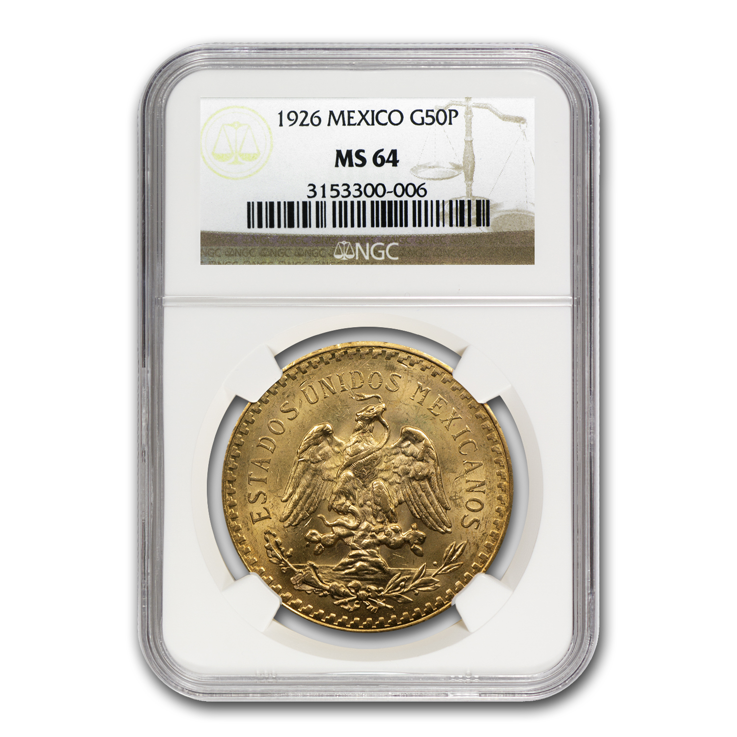 1926 Mexico Gold 50 Pesos MS-64 NGC