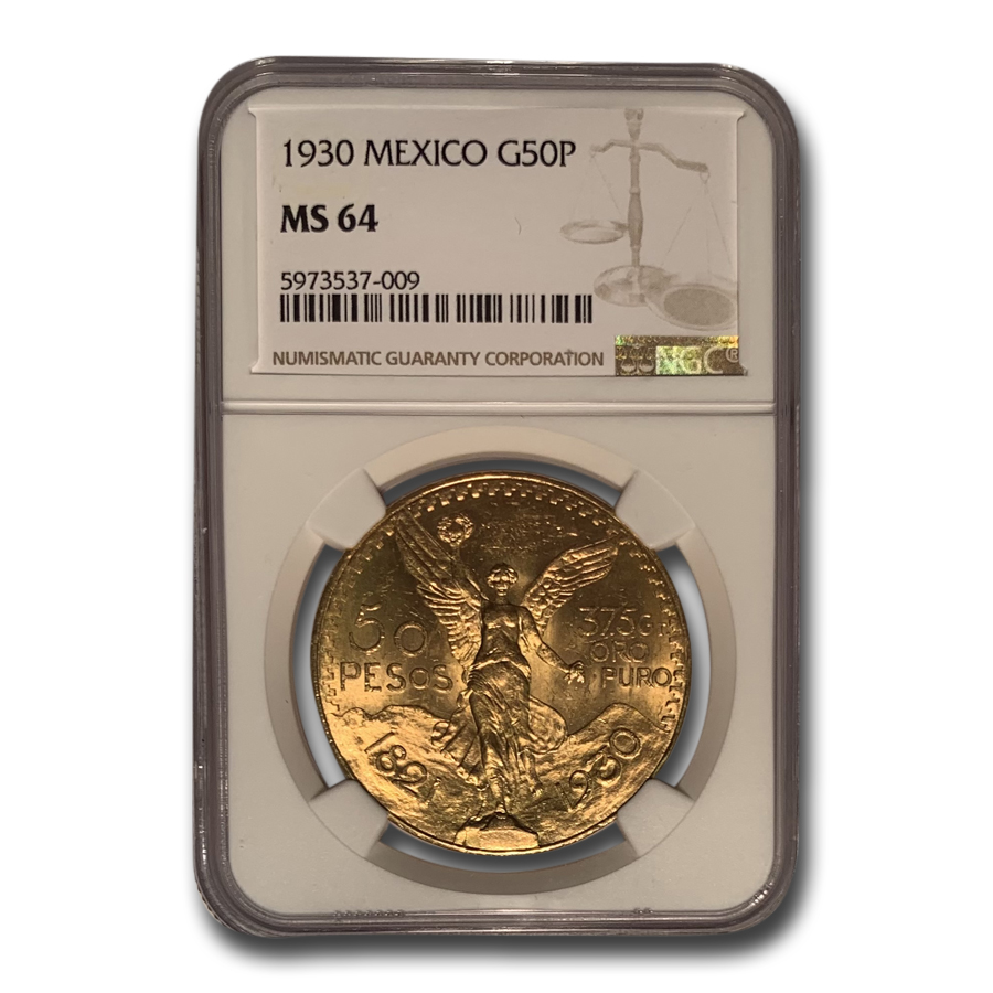 1930 Mexico Gold 50 Pesos MS-64 NGC
