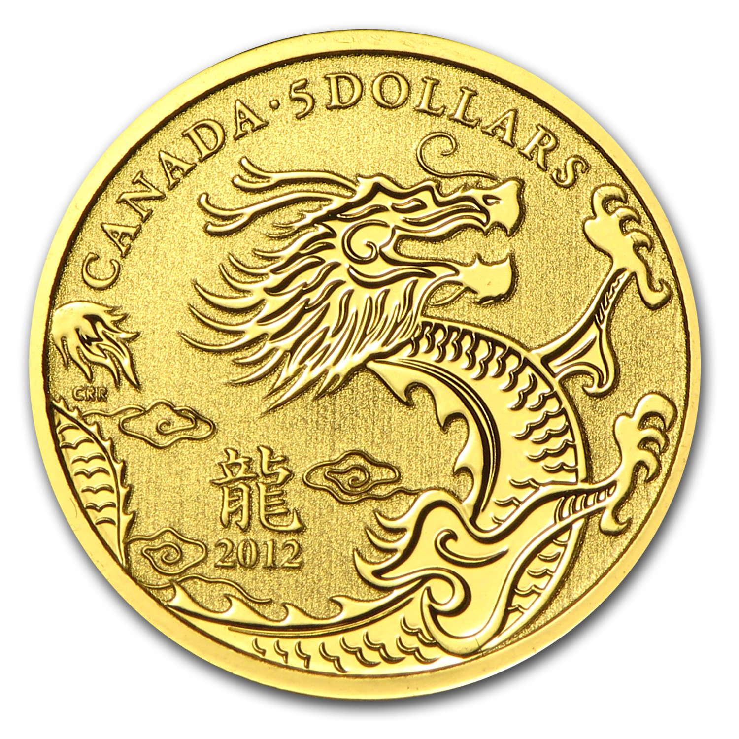 2012 1/10 oz Gold Canadian $5 Lunar Dragon (W/Box & COA)
