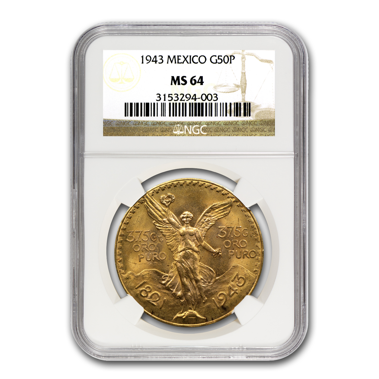 Mexico 1943 50 Pesos Gold Coin - MS-64 NGC