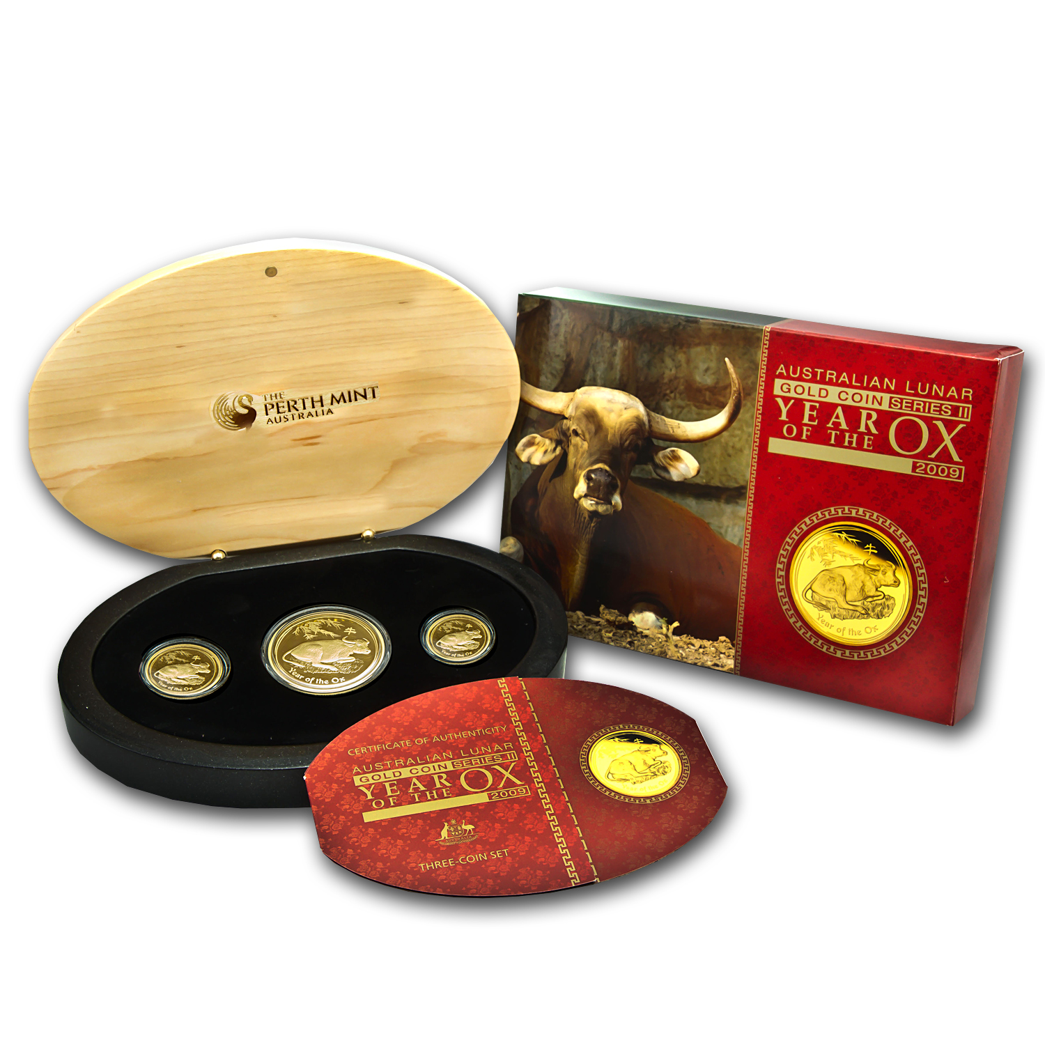 2009 3-Coin Gold Lunar Year of the Ox Proof Set (Series II)