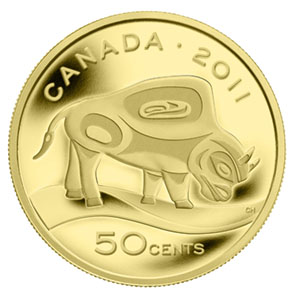 2011 Canada 1/25 oz Prf Gold $0.50 Wood Bison (w/Box & COA)
