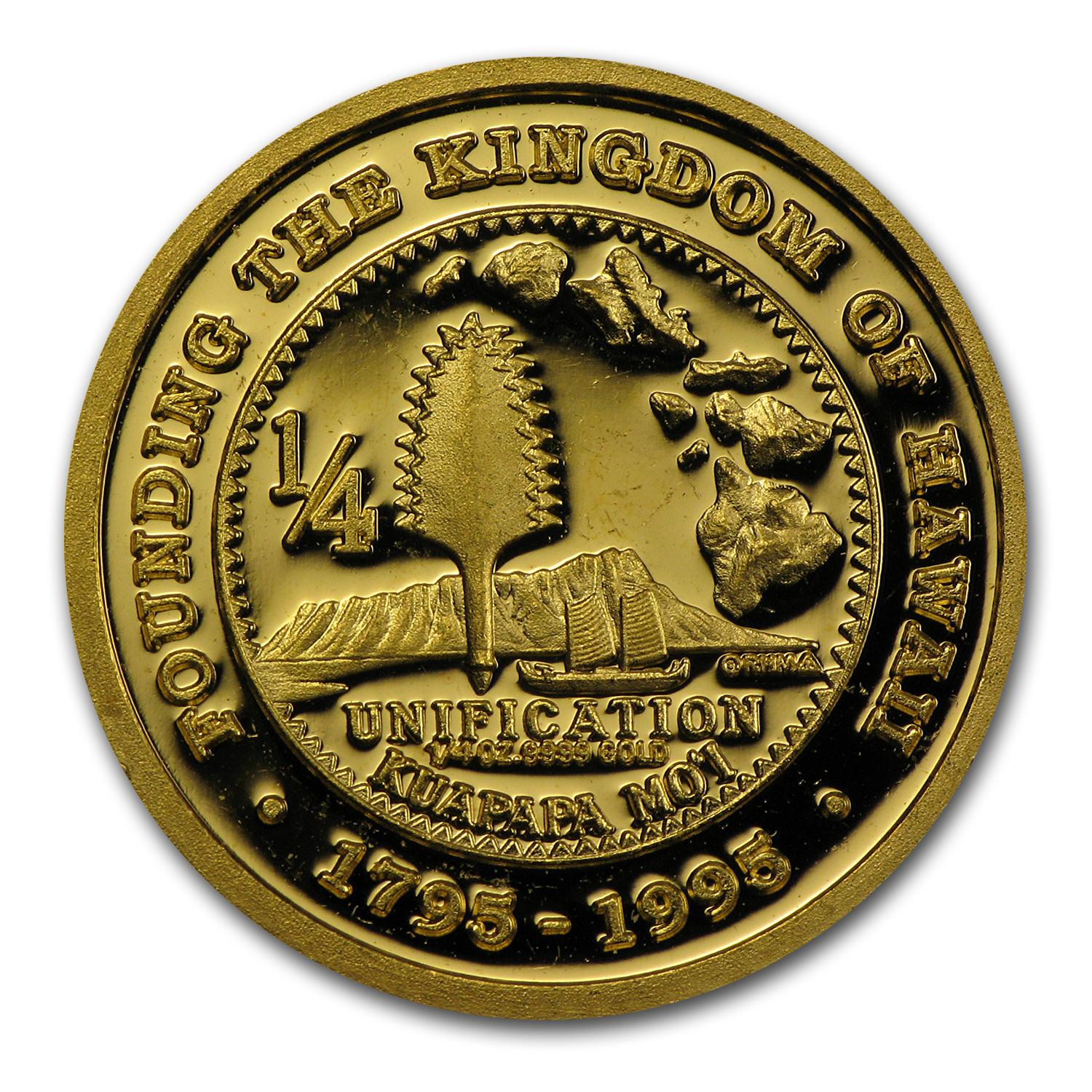 1/4 oz Gold Round - Hawaii 200th Anniversary (1795-1995)