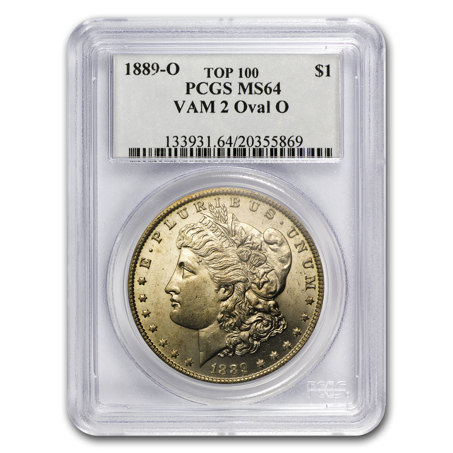 1889-O MS-64 PCGS VAM-2 Oval O Mintmark Top-100