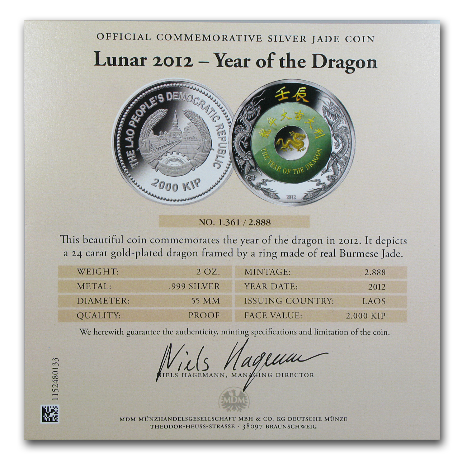 2012 2 oz Laos Proof Silver & Jade Year of the Dragon Coin