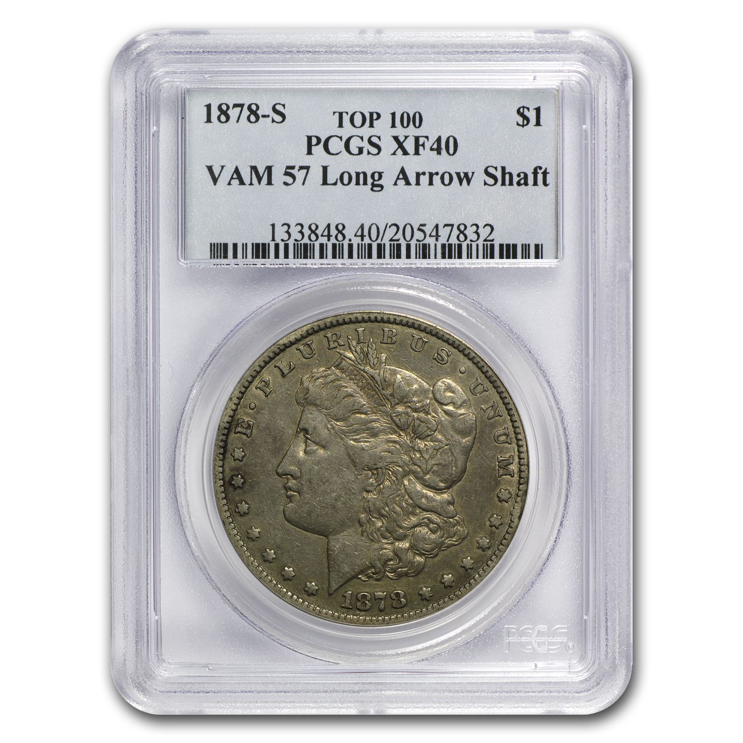 1878-S Morgan Dollar XF-40 PCGS (VAM-57, Long Nock Rev, Top 100)