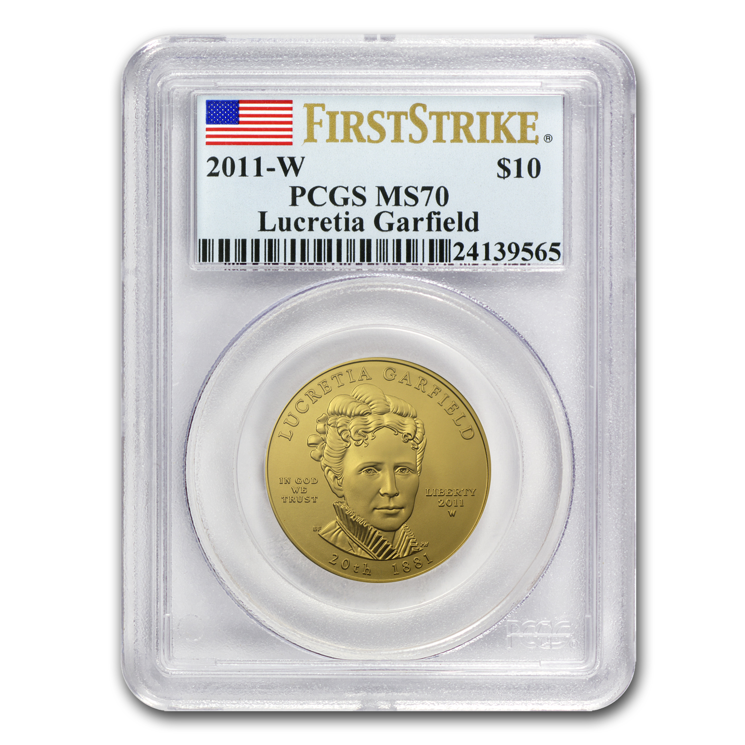 2011-W 1/2 oz Gold Lucretia Garfield MS-70 PCGS (First Strike)