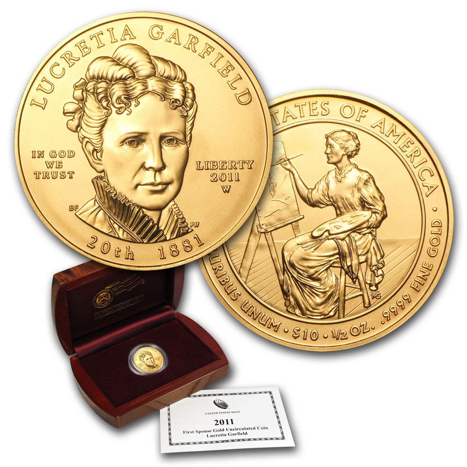 2011-W 1/2 oz Uncirculated Gold Lucretia Garfield (w/Box & CoA)