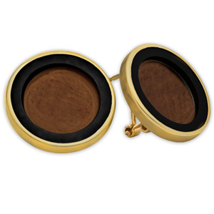 14k Gold Onyx Polished Coin Earrings - 14 mm
