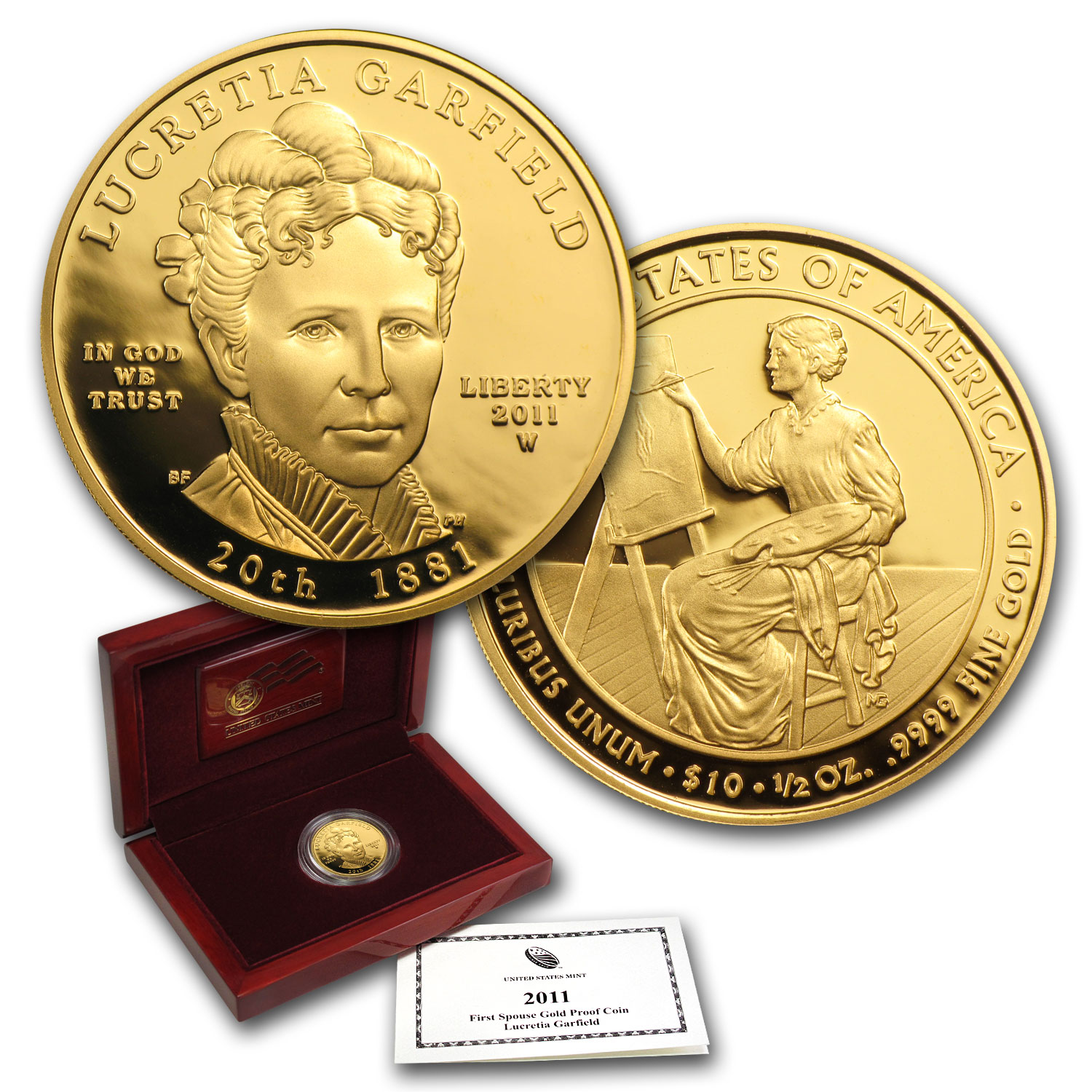 2011-W 1/2 oz Proof Gold Lucretia Garfield (w/Box & CoA)