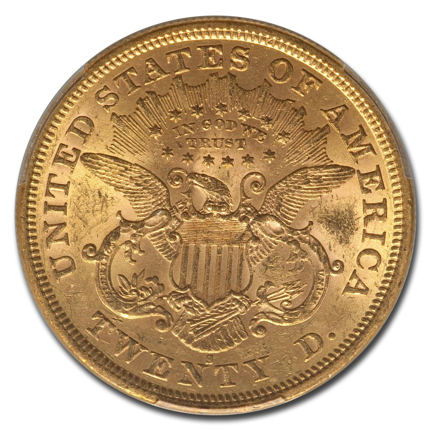 1875-S $20 Gold Liberty Double Eagle - AU-58 PCGS