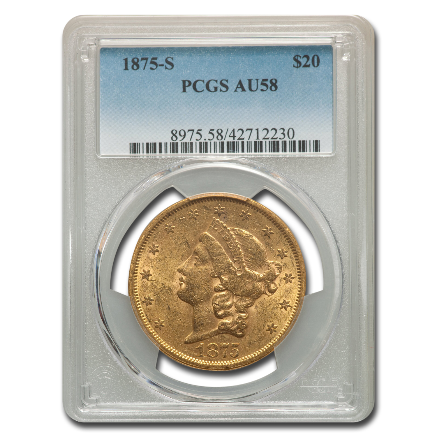 1875-S $20 Gold Liberty Double Eagle AU-58 PCGS