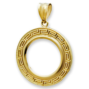 14K Gold Prong Greek Key Coin Bezel - 18 mm