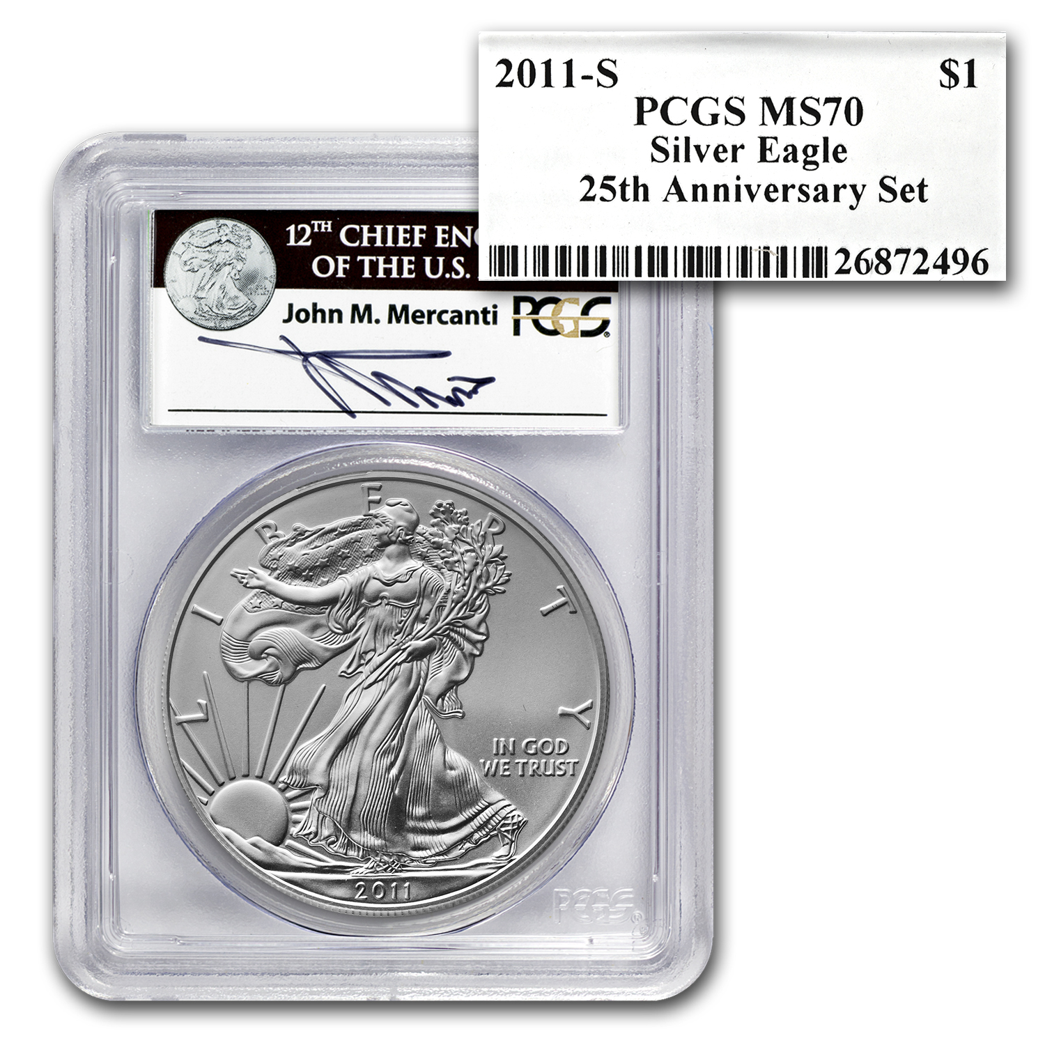 2011 5-Coin Silver Eagle Set MS/PR-70 PCGS (Mercanti, 25th Anniv)