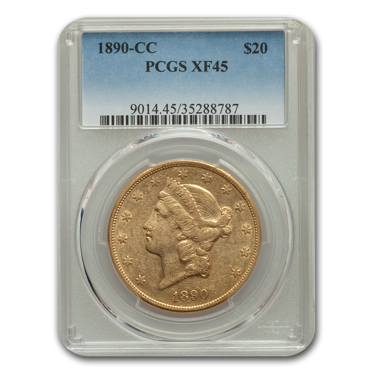 1890-CC $20 Liberty Gold Double Eagle XF-45 PCGS