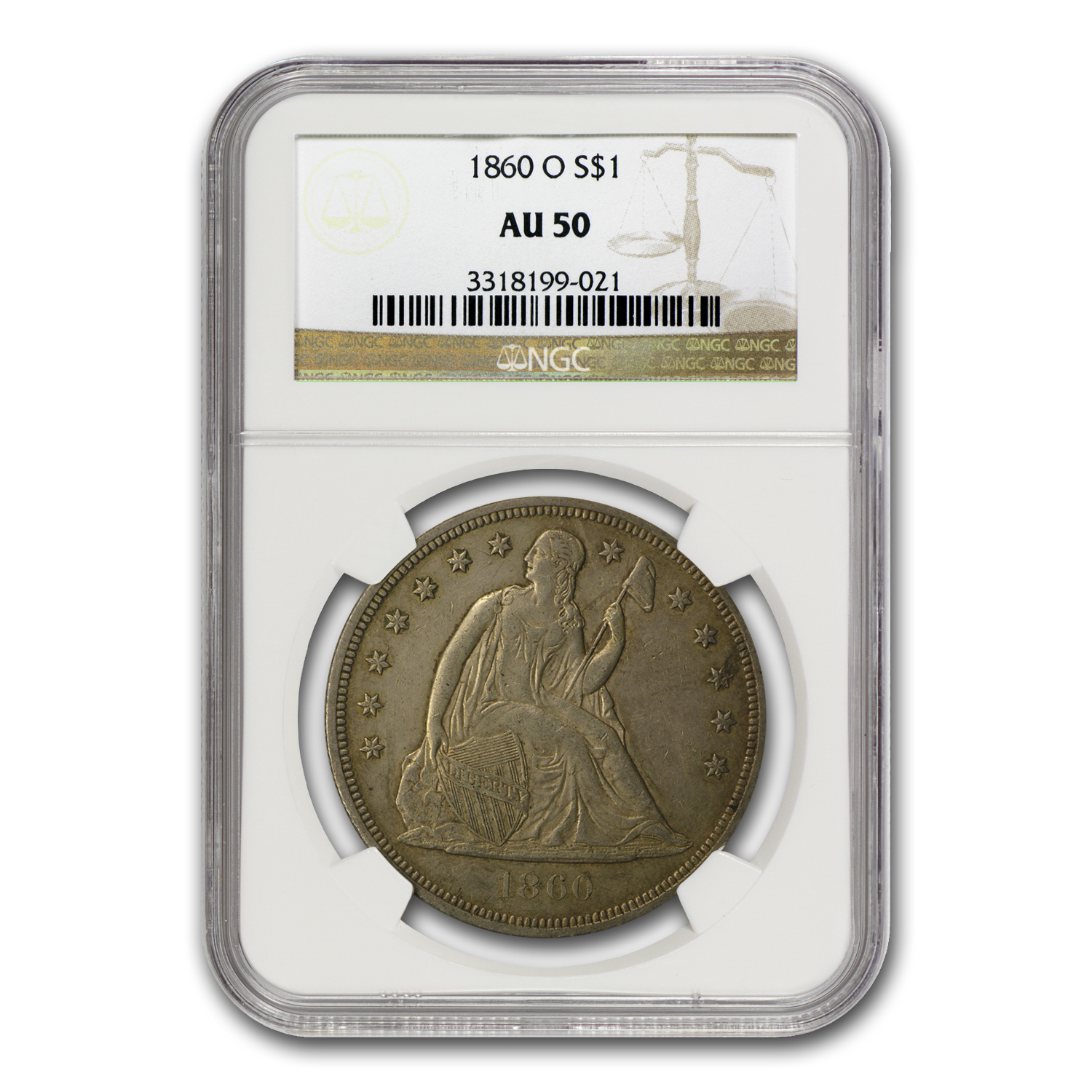 1860-O Liberty Seated Dollar AU-50 NGC
