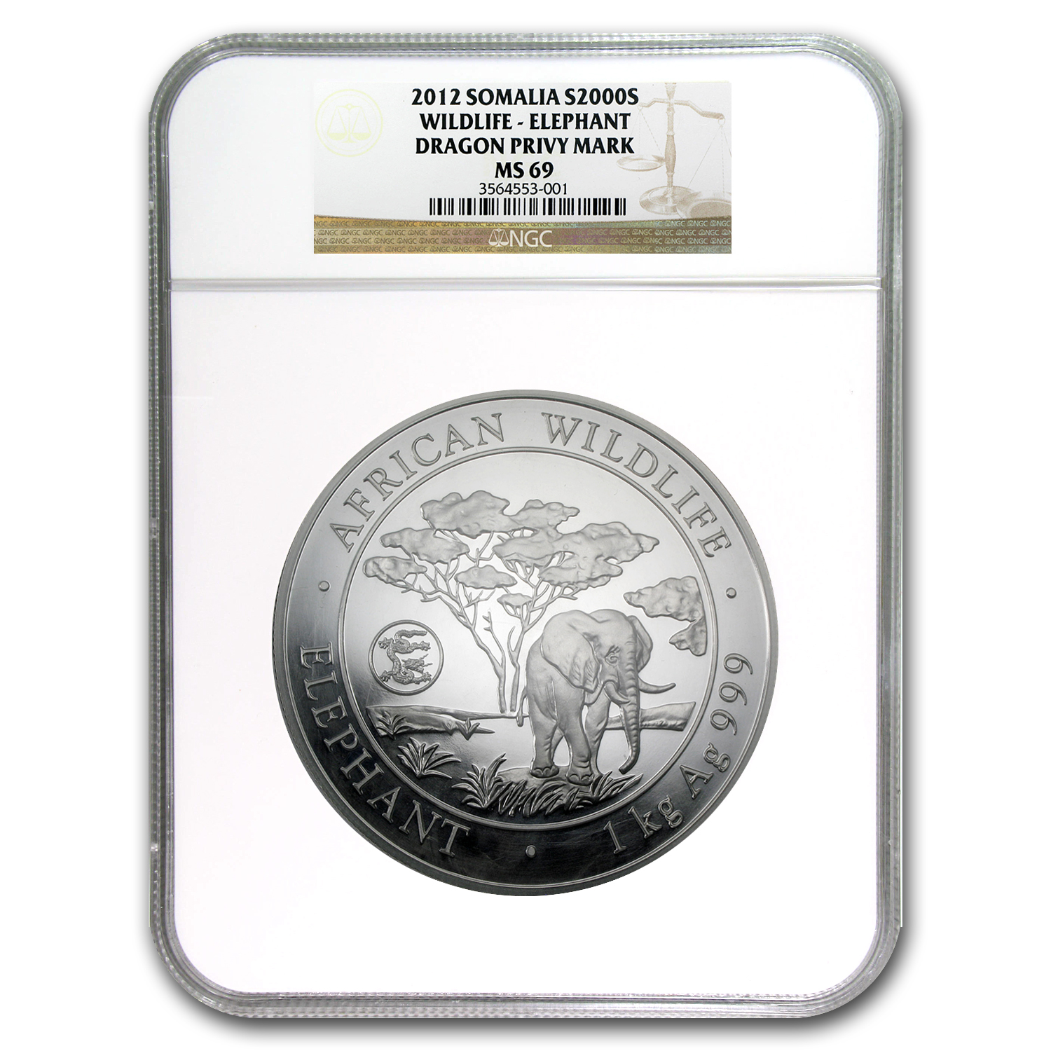 2012 Somalia 1 kilo Silver Elephant MS-69 NGC (Dragon Privy)