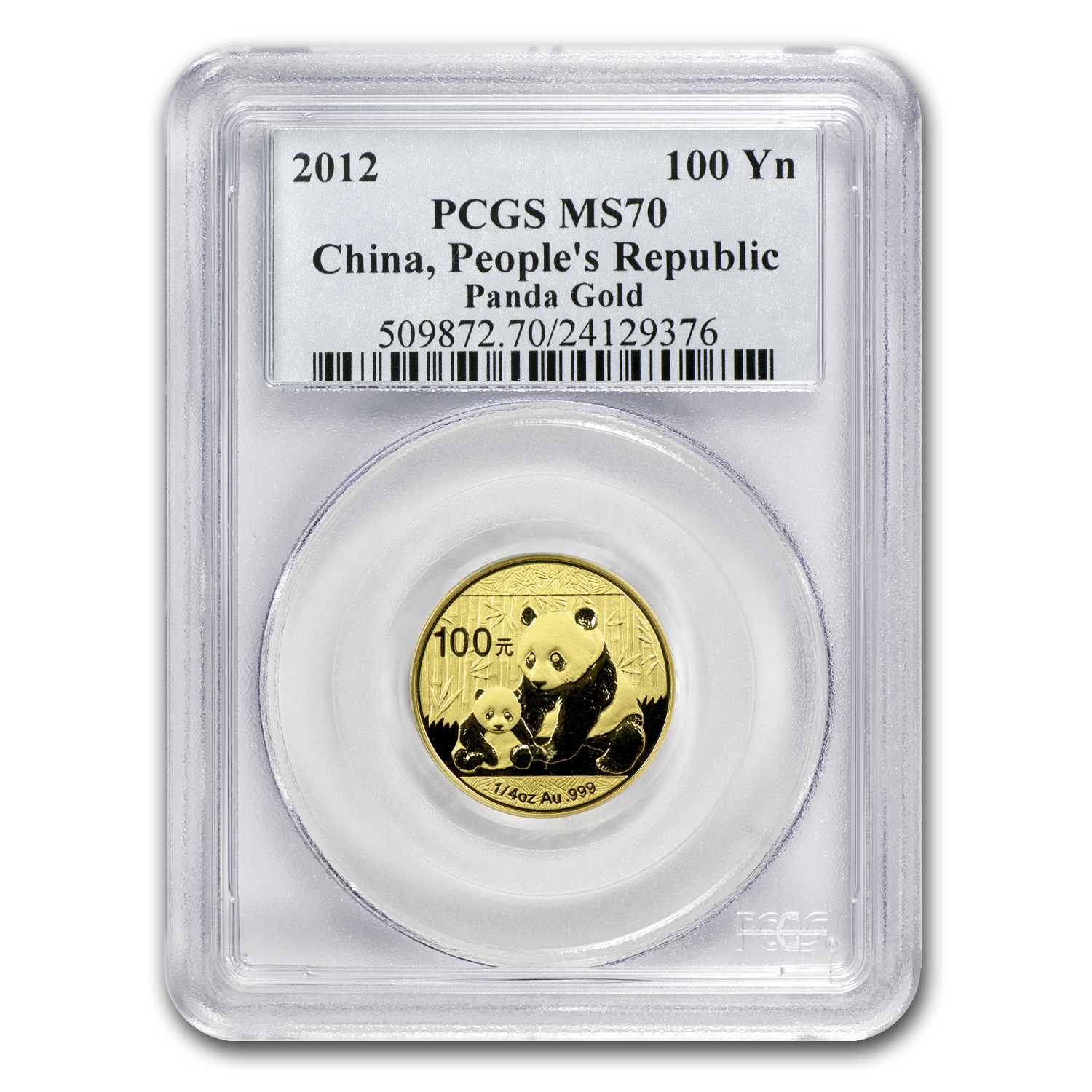 2012 China 1/4 oz Gold Panda MS-70 PCGS