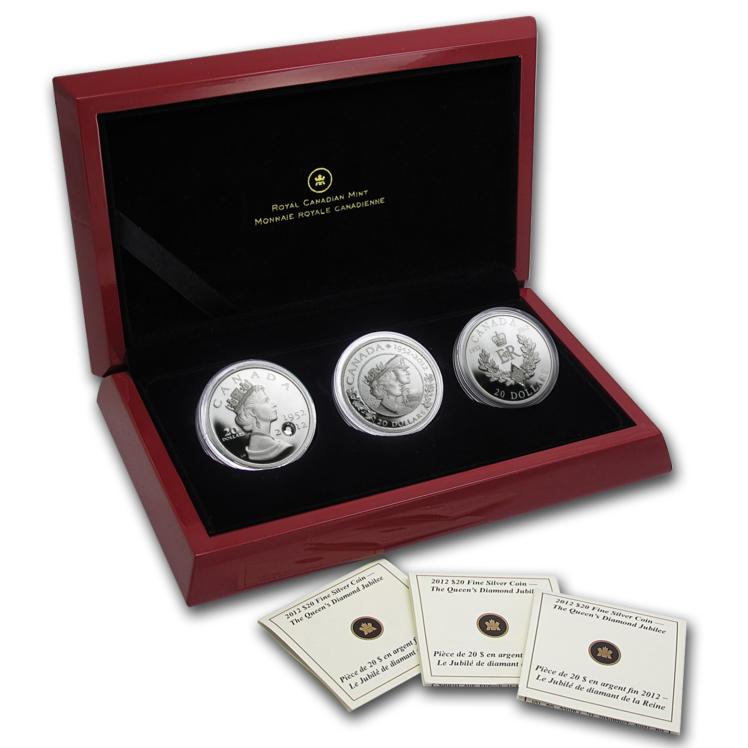 2012 3 x 1 oz Silver Canadian $20 Diamond Jubilee 60th Anniv. Set