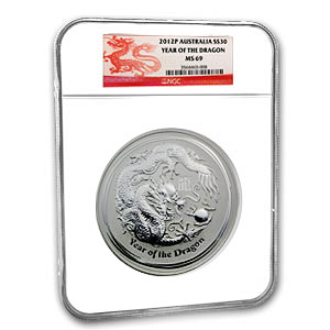 2012 1 Kilo Silver Australian Year of the Dragon MS-69 NGC
