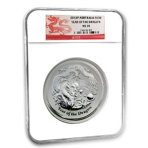 2012 1 Kilo Silver Australian Year of the Dragon NGC MS-70