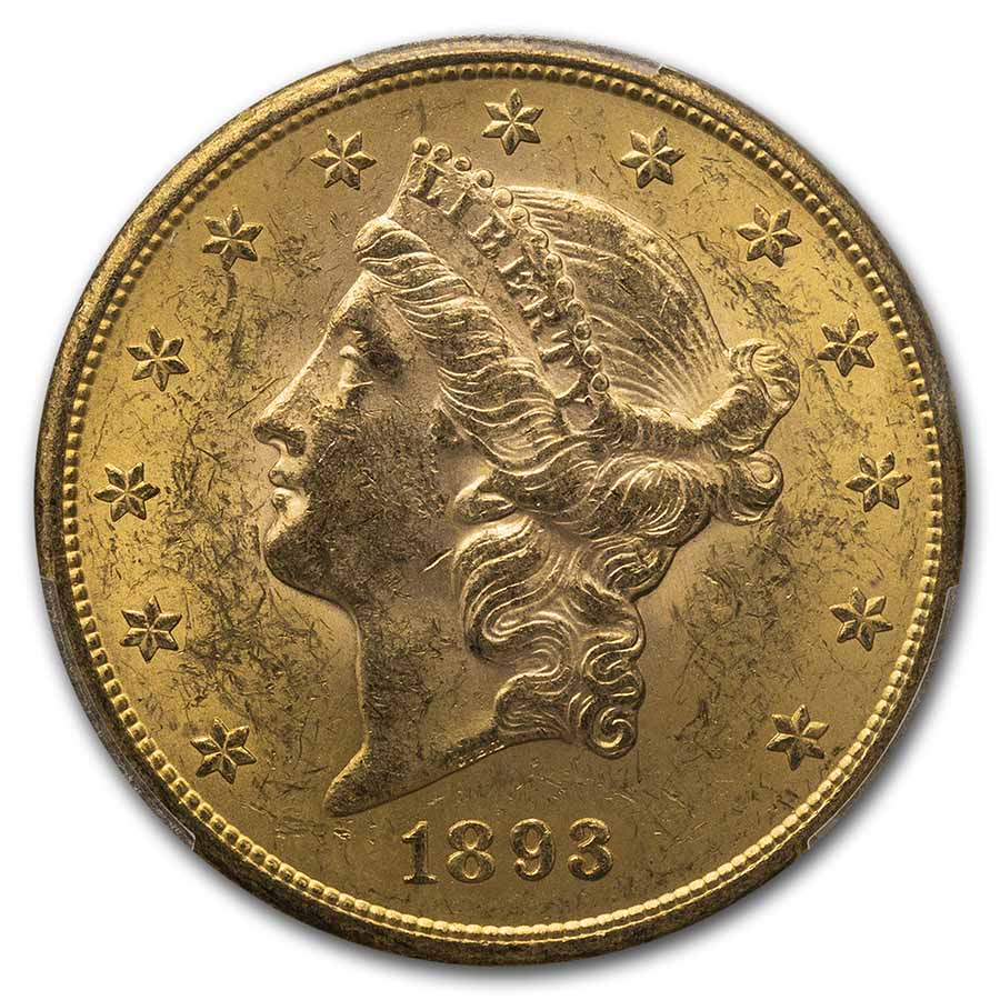 1893-S $20 Liberty Gold Double Eagle MS-62 PCGS