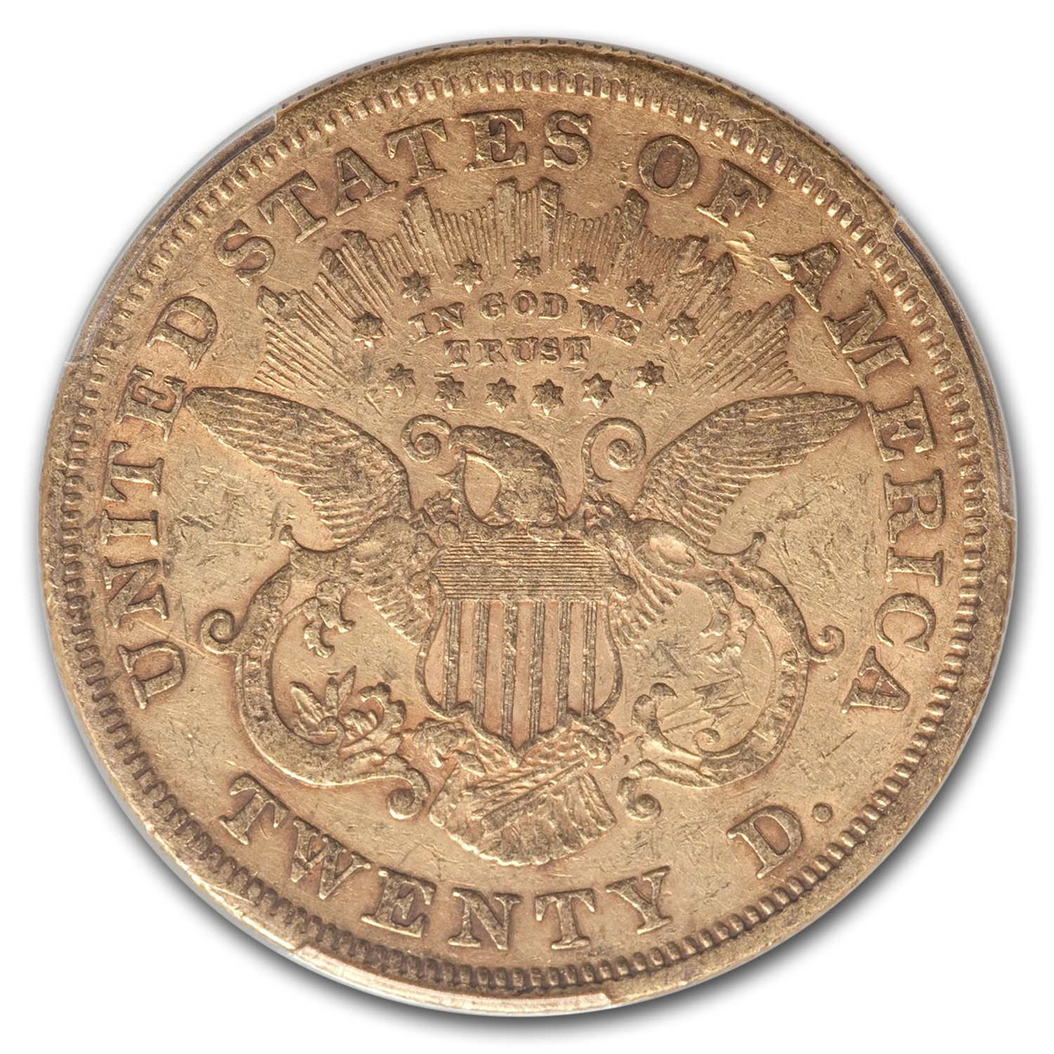 1867 $20 Gold Liberty Double Eagle XF-40 PCGS