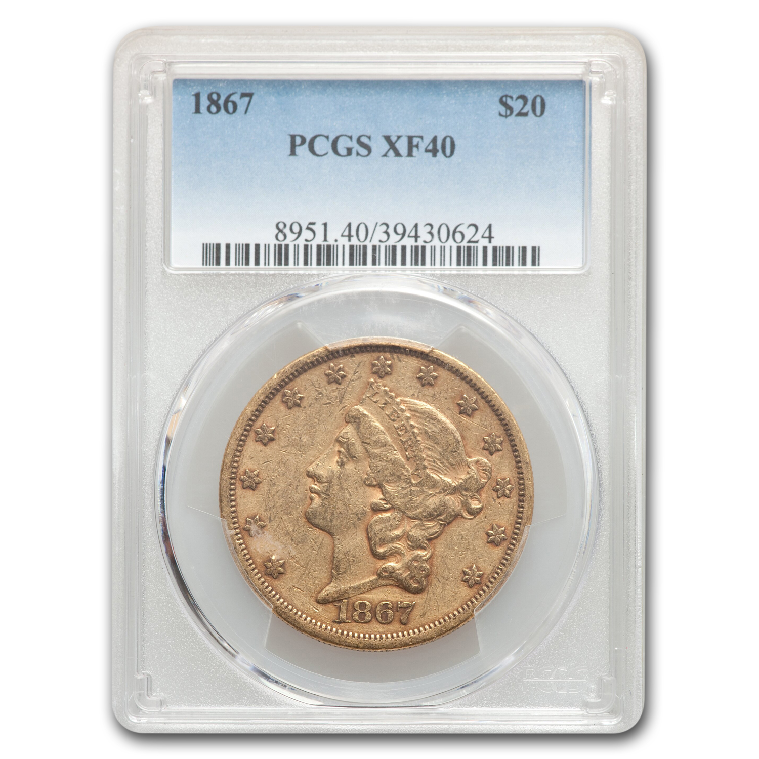 1867 $20 Gold Liberty Double Eagle - XF-40 PCGS