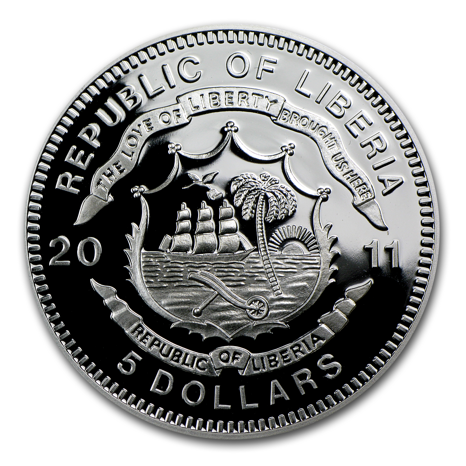 2011 Liberia Silver $5 Blue Train Proof