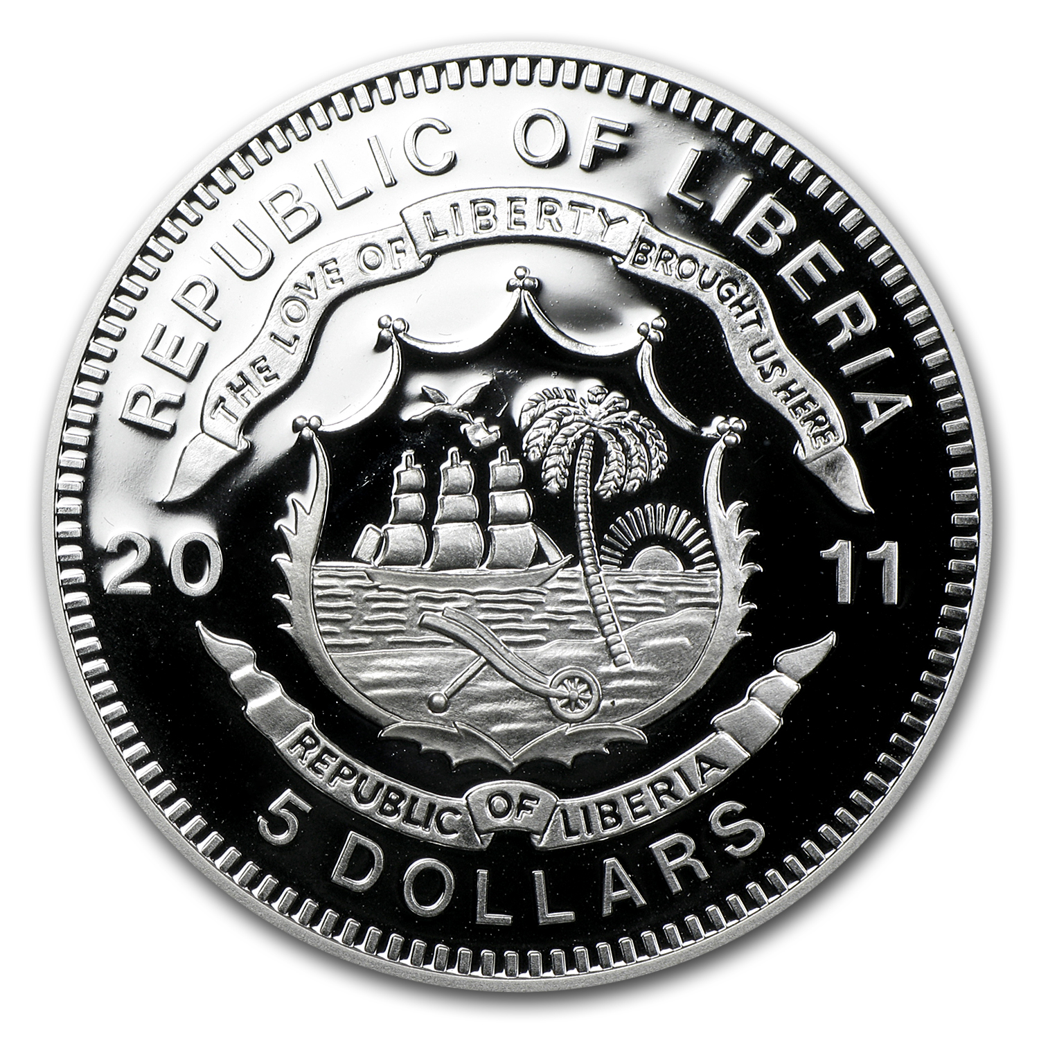 Liberia 2011 Proof Silver 5 Dollars - Royal Hudson - Train
