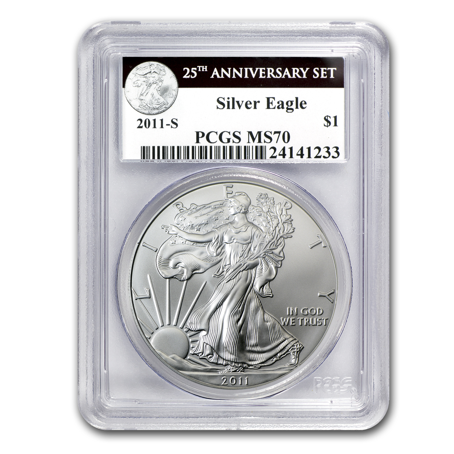 2011-S Silver Eagle MS-70 PCGS (25th Anniv, Black Label)