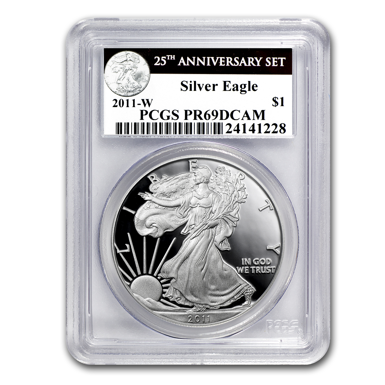 2011-W Proof Silver Eagle PR-69 PCGS (25th Anniv, Black Label)