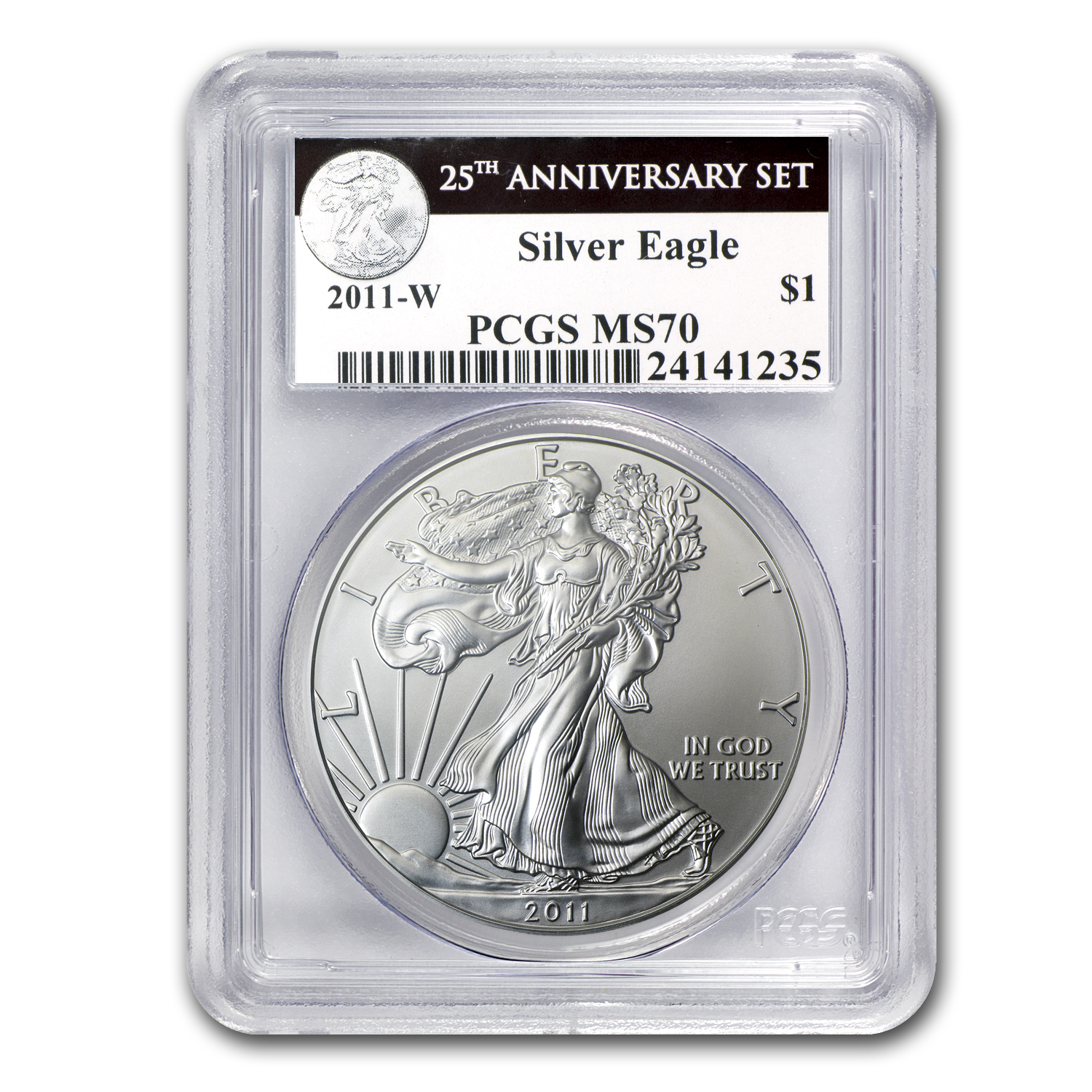 2011-W Burnished Silver Eagle MS-70 PCGS (25th Anniv, Blk Label)
