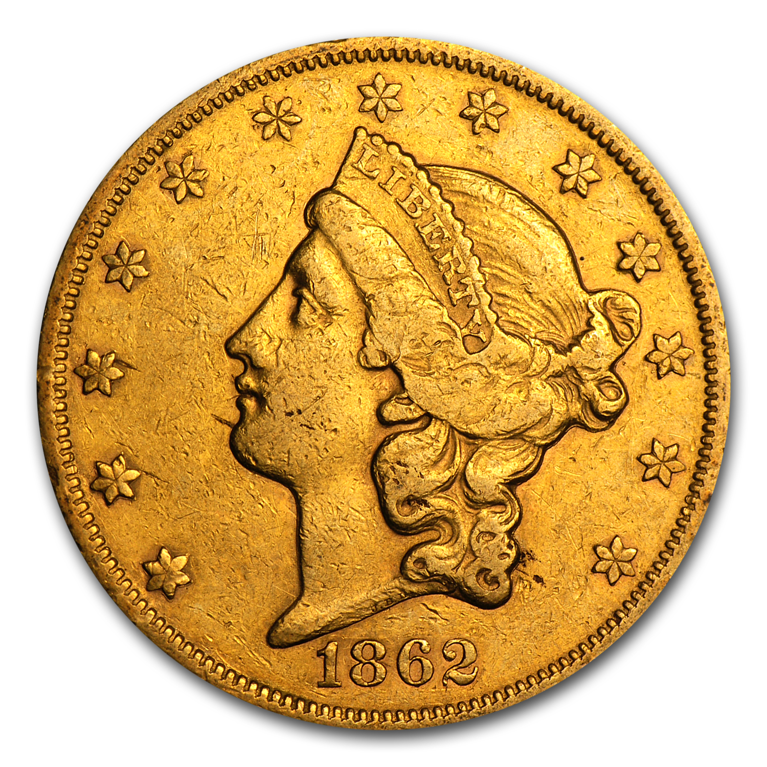 1850-1866 $20 Liberty Gold Double Eagle Type 1 XF