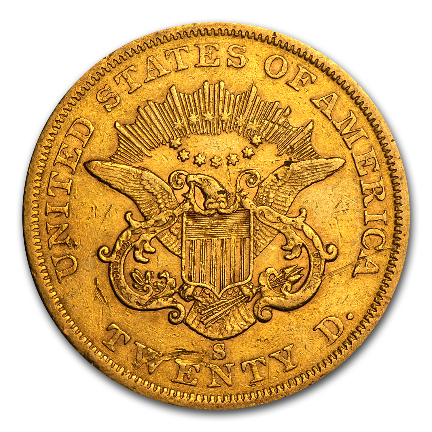 $20 Liberty Gold Double Eagle Type 1 1850-1866 Extra Fine