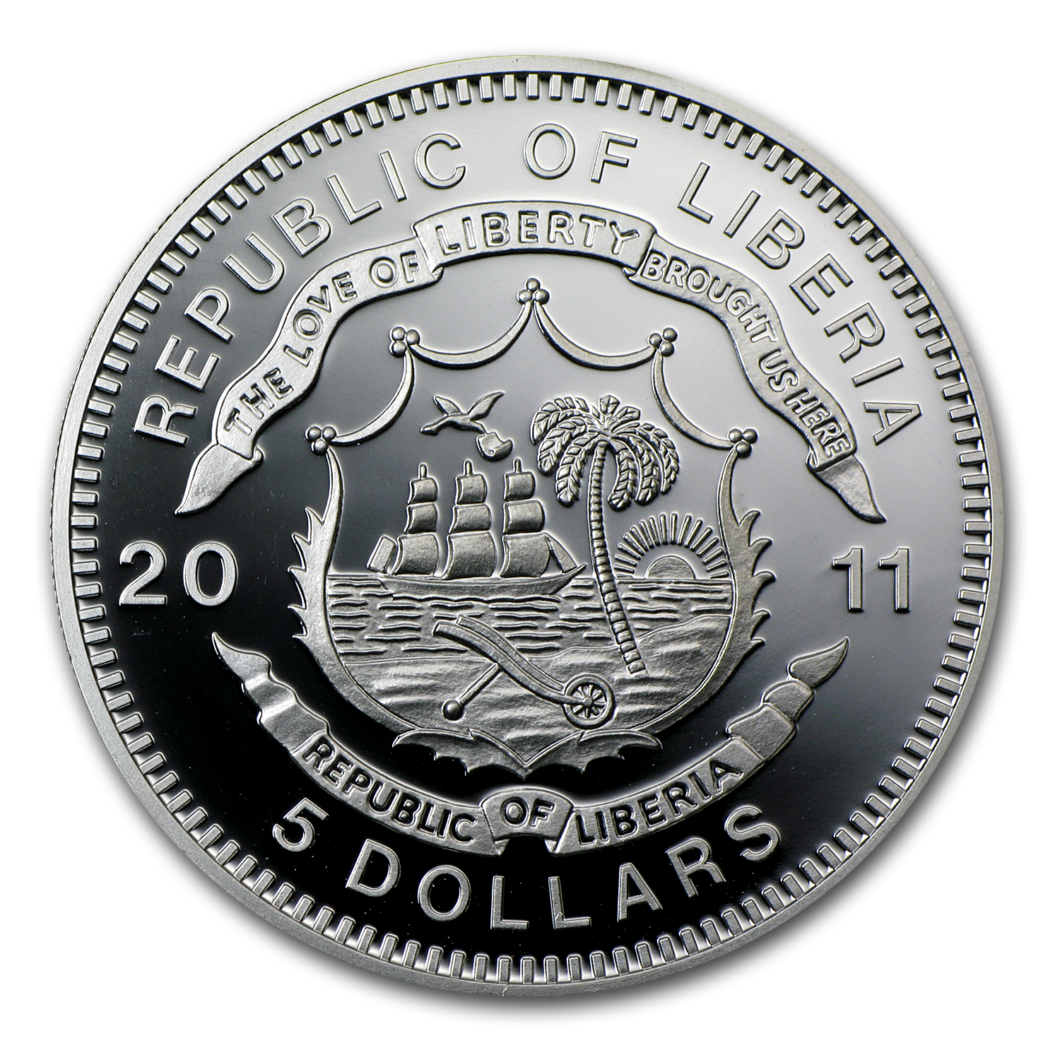 2011 Liberia Silver $5 Adler Locomotive Proof