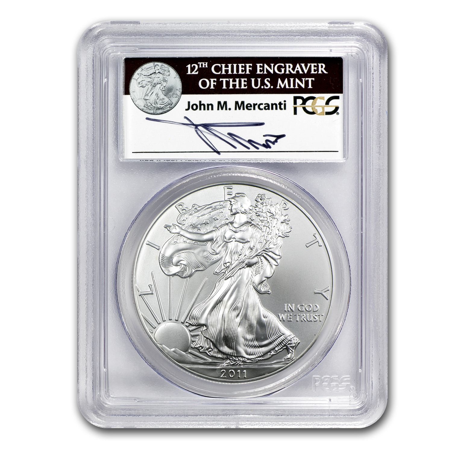 2011-W Silver Eagle - MS-69 PCGS - 25th Anniv - John Mercanti