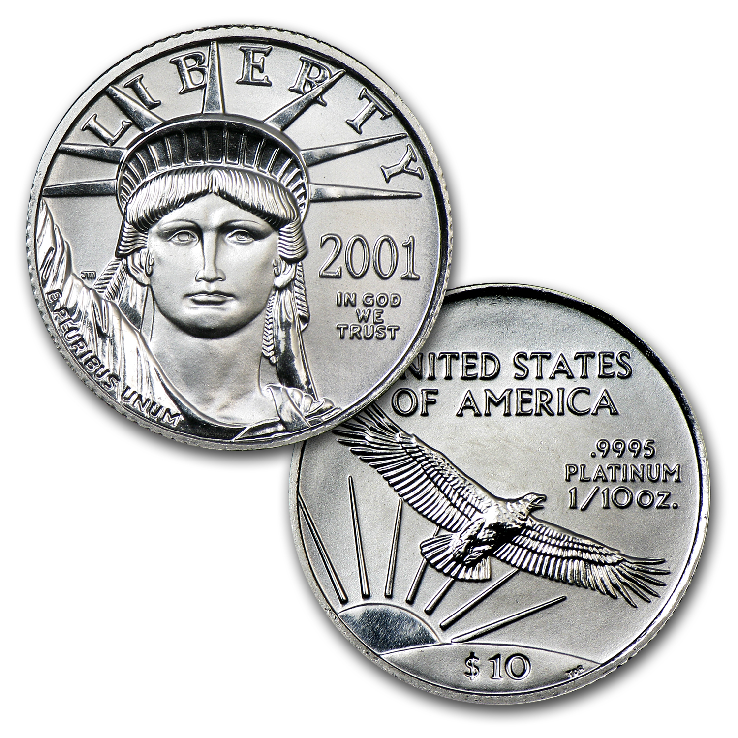 1997-2008 12-Coin 1/10 oz Platinum Eagle Set BU (Dansco Album)