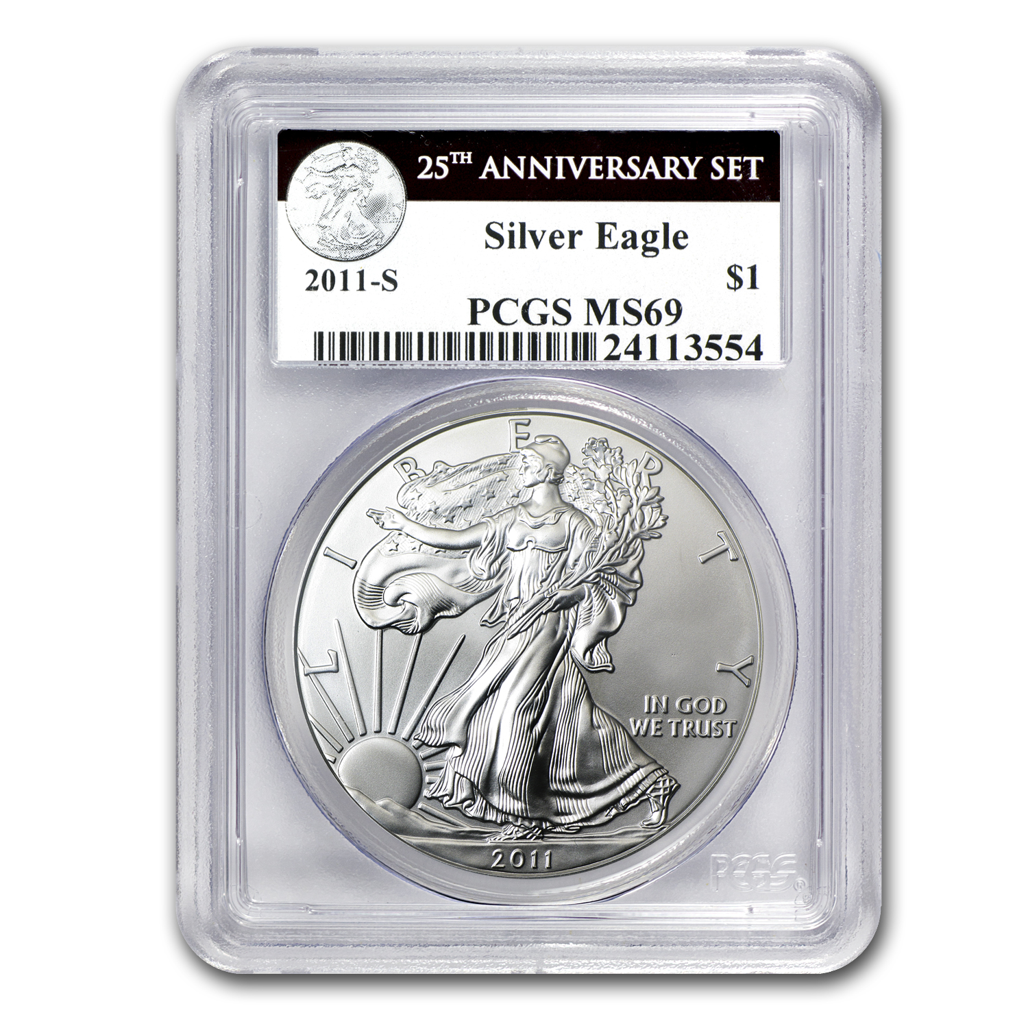 2011-S Silver Eagle MS-69 PCGS (25th Anniv, Black Label)