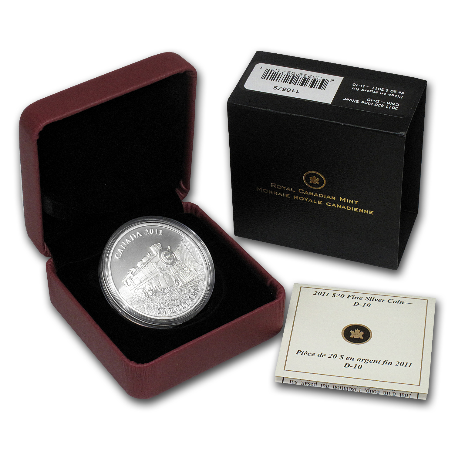 2011 1 oz Silver $20 Great Canadian Locomotives - D-10 (W/Box)