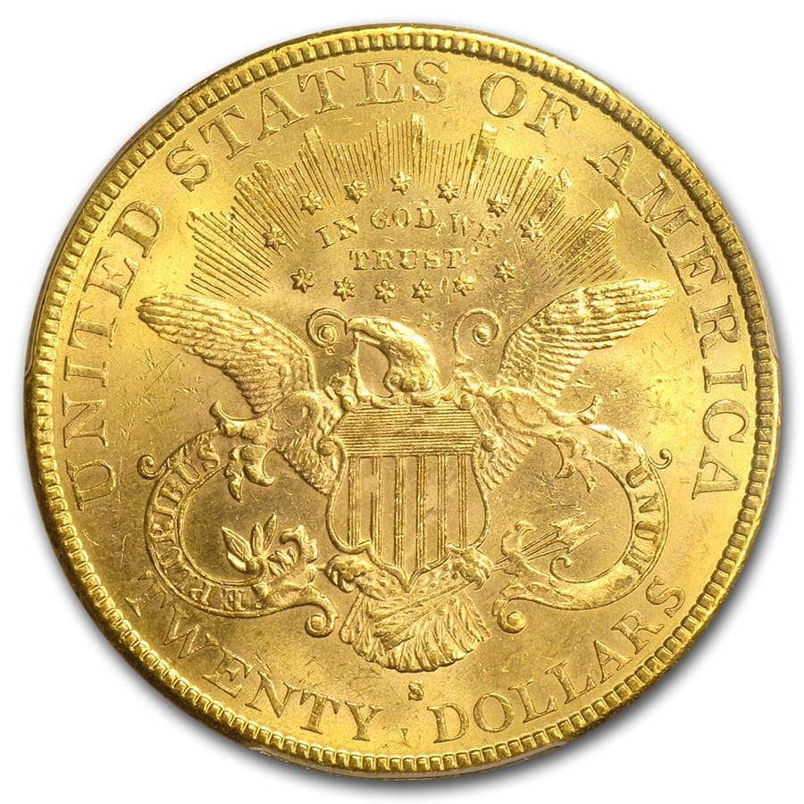 $20 Gold Liberty Double Eagle MS-62 PCGS (1800s S-Mint)