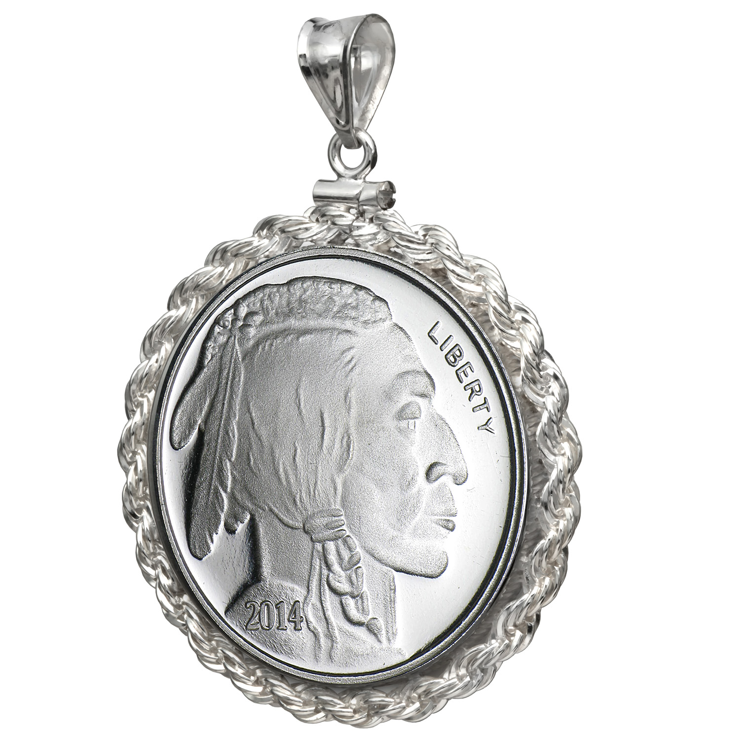 2014 1/2 oz Silver Buffalo Round Pendant (Rope-ScrewTop Bezel)