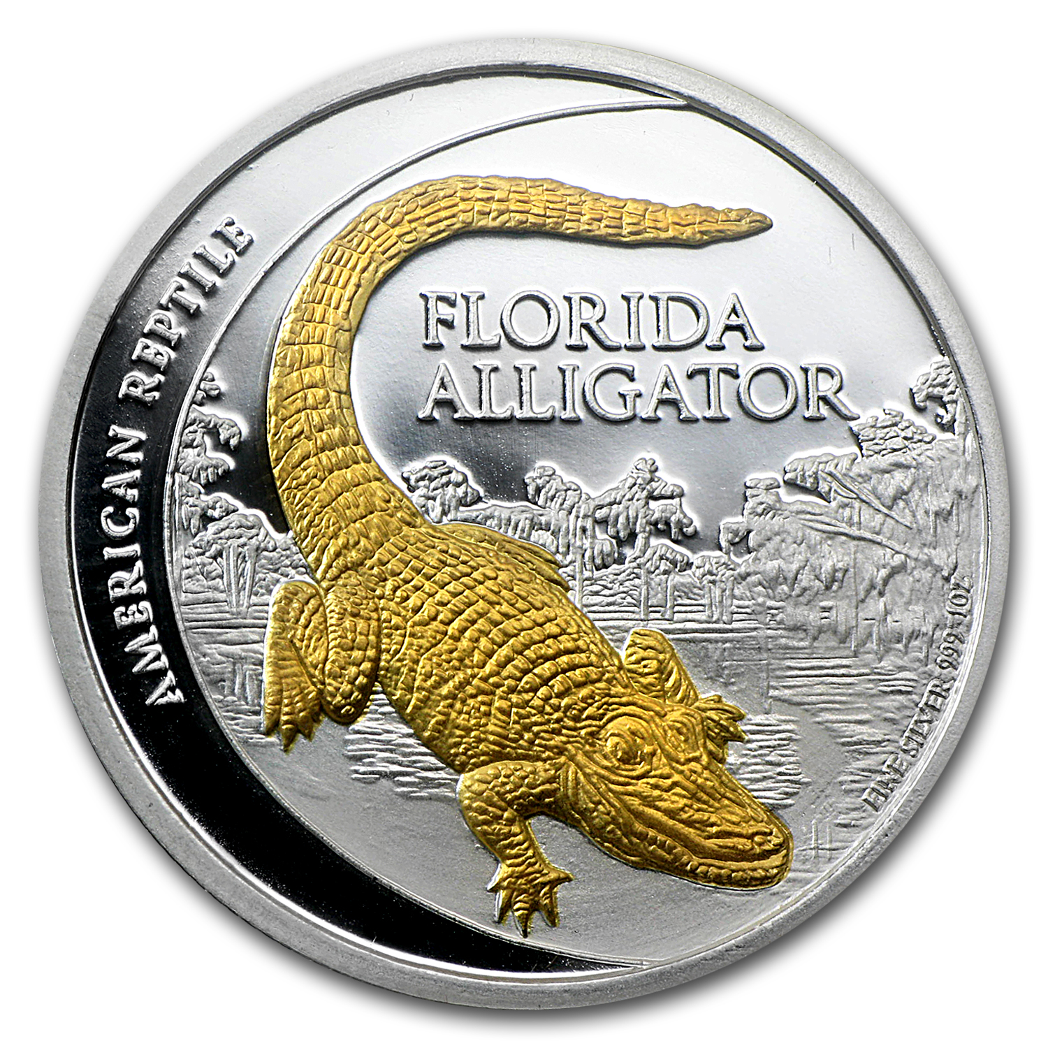 2012 Niue $2 Gilded Florida Alligator 1 oz Silver Proof Coin