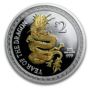 2012 Niue $2 Gilded Year of the Dragon 1 oz Silver Proof Coin