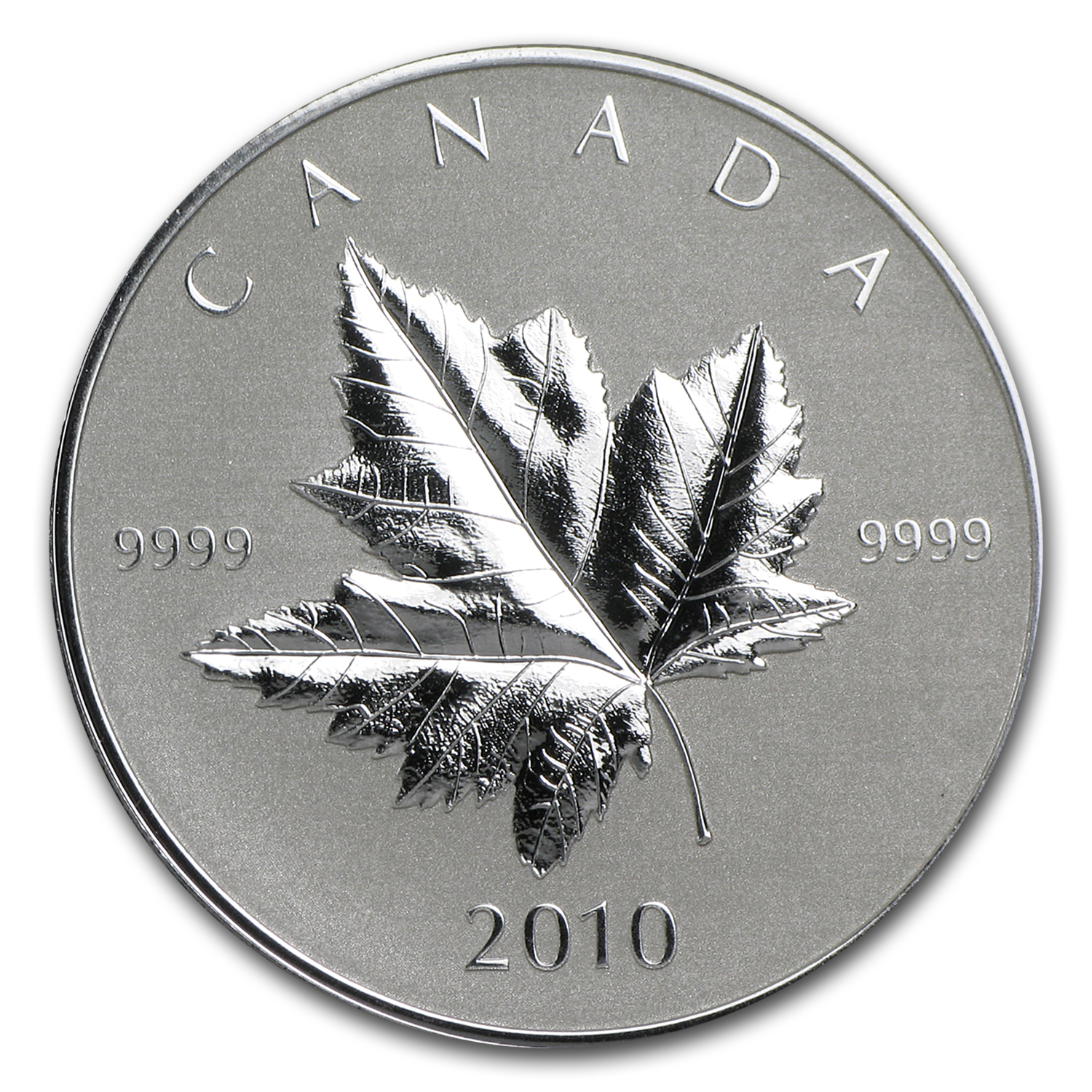 2010 Canada 1 oz Silver $5 Maple Leaf (Piedfort, w/Box & COA)
