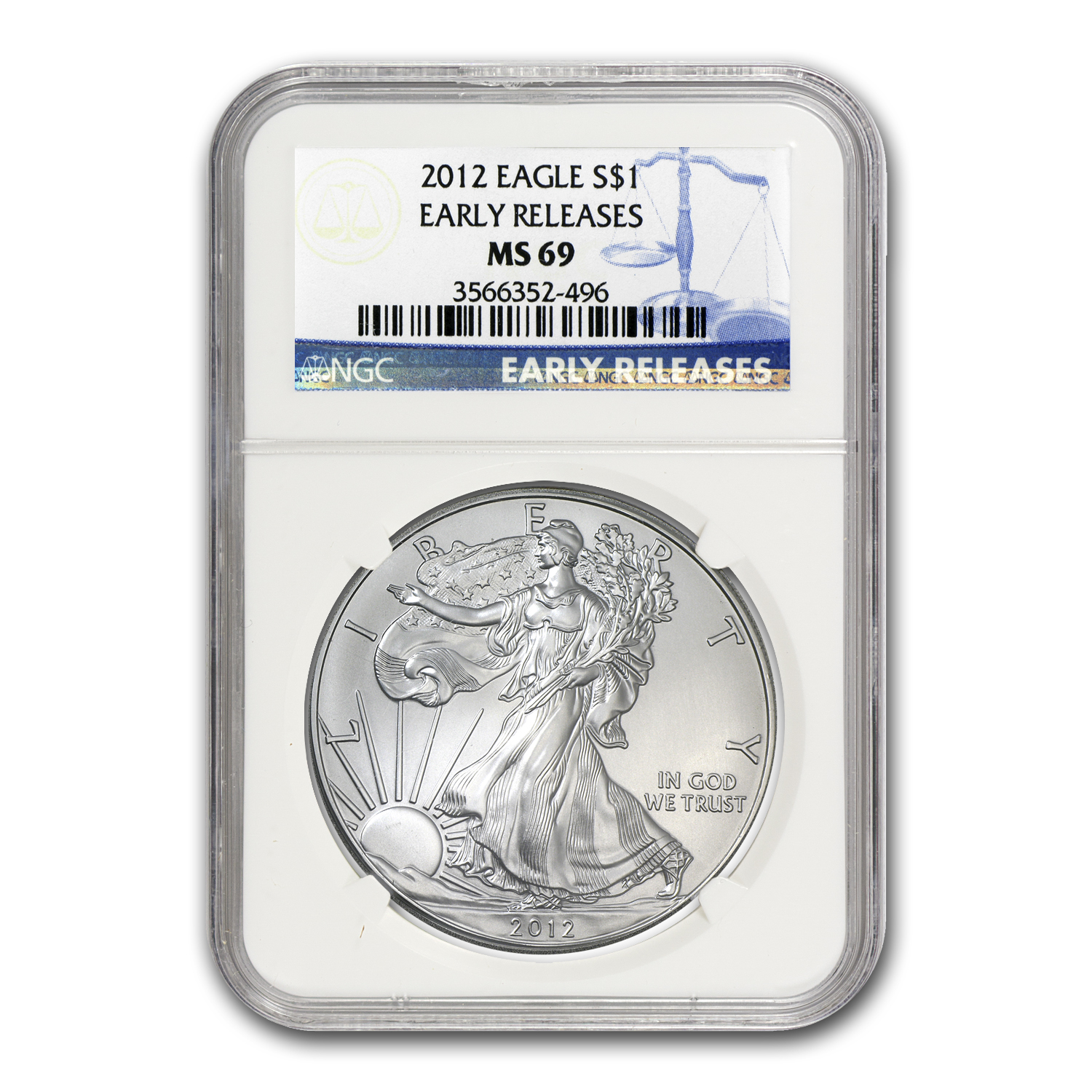 2012 Silver American Eagle MS-69 NGC (Blue Label, Early Release)